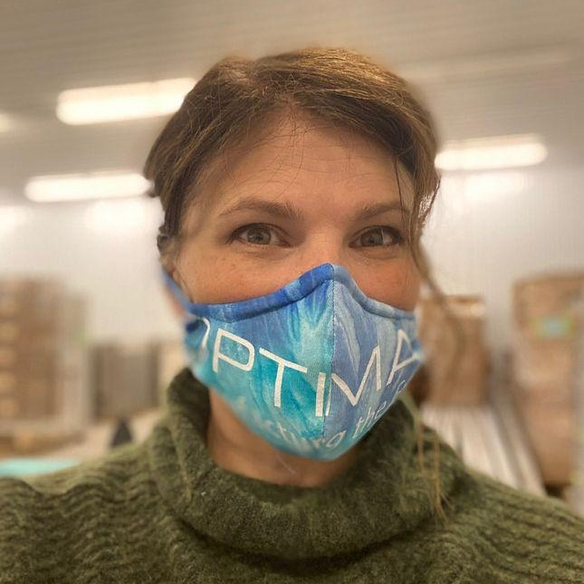 Leah Hamilton in Optimax tie dye COVID-19 mask