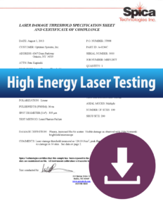 High energy laser testing article